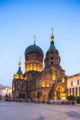 sait sophia cathedral in blue sky at twilight