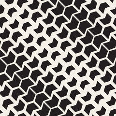 Vector Seamless Black And White Chevron Halftone Diagonal Geometric Pattern