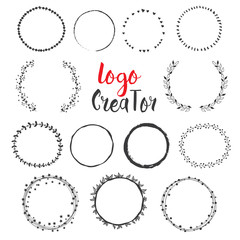 Uniqiue handdrawn shapes for brand identity and logo design isolated on background and easy to use.