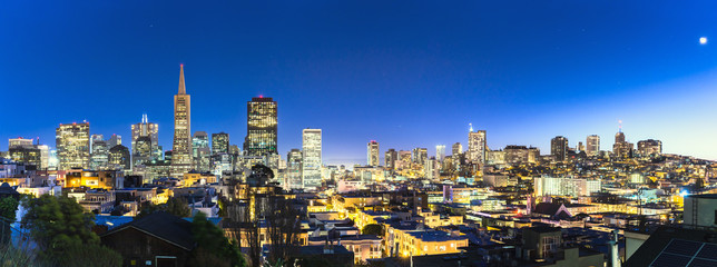 cityscape and skyline of san francisco in moon light
