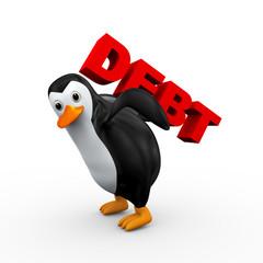 3d penguin carrying word debt