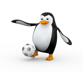 3d penguin soccer player shooting ball