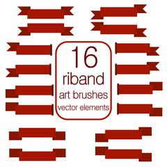 Red Web Ribbons Set and ribbon vector brushes