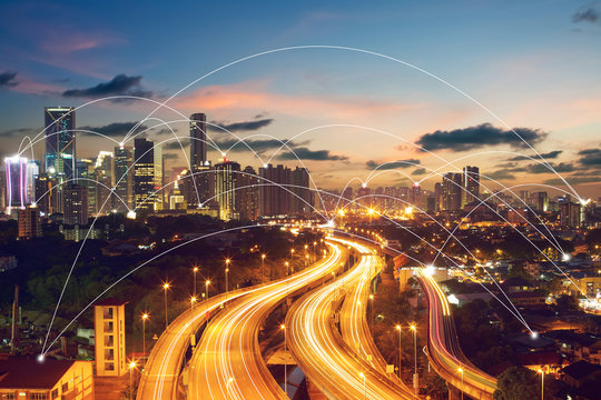 city scape and network connection concept..Image ID:411942079