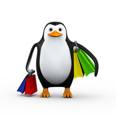 3d penguin and shopping bag