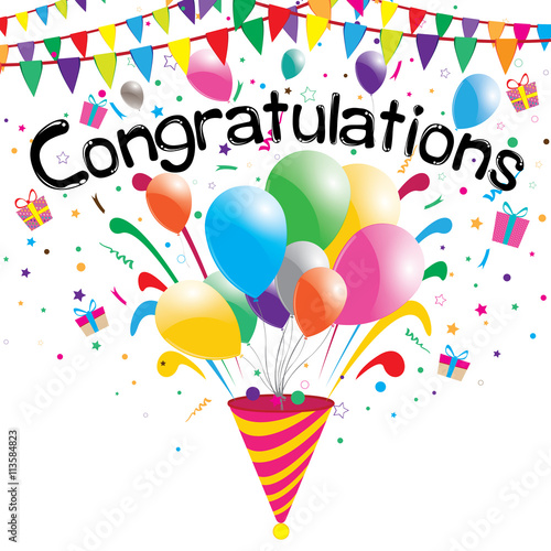 congratulations party on a white background vector congratulations