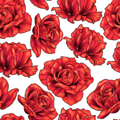 Red roses .Vector seamless pattern