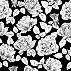 White roses on a black background vector seamless pattern