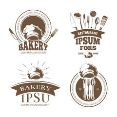 Restaurant menu design, vector labels, emblems, badges, logos. Label bakery with ribbon, bakery logo for menu with utensil illustration