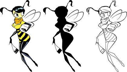 Hand drawn cartoon character illustration of an elegant beautiful wasp lady holding fashionable bag in her hands
