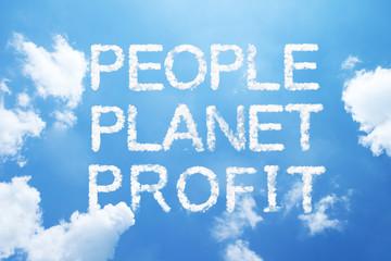 """People Planet Profit"" cloud word on sky."
