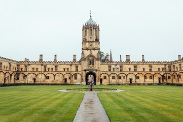 Courtyard in Christ Church College a rainy day with no people