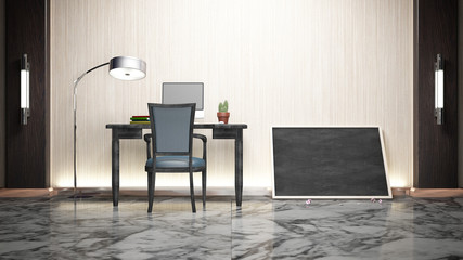 Workroom Simple Luxuly marble and wood 3d rendering image Non brand,sketches.All