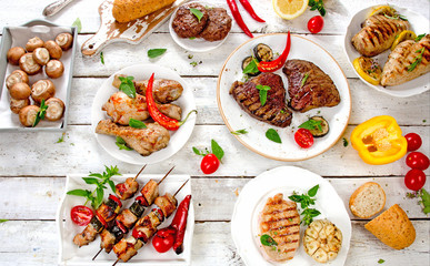 Assorted grilled meats and vegetables