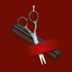 Dark Red Cover Comb Scissors Banner