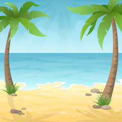 Two palm trees on the beach. Sea beach with palm tree, sea and sky. Vacation travel background.