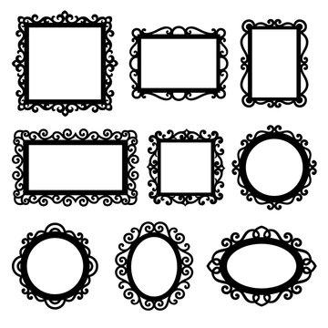 Set of decorative vintage frames for your design. Ornamental frame silhouettes. Vector illustration