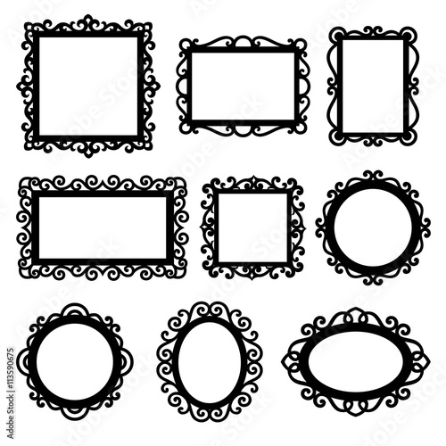 Set of decorative vintage frames for your design. Ornamental frame ...