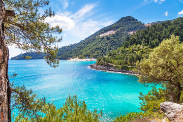 Summer vacation background with turquoise sea water bay, nountains, pine trees Wall mural
