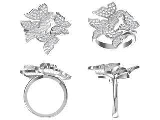 Diamond engagement ring isolated on white background