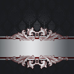 Black background with vintage patterns and silver decorative bor