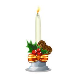 Christmas white burning candle, holiday decoration