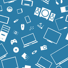 Seamless background from digital devices, vector illustration.
