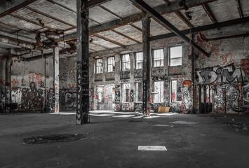 Spoed Foto op Canvas Oude verlaten gebouwen abandoned warehouse interior , old building ruin