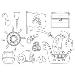 Coloring Book Outlined Pirate Elements