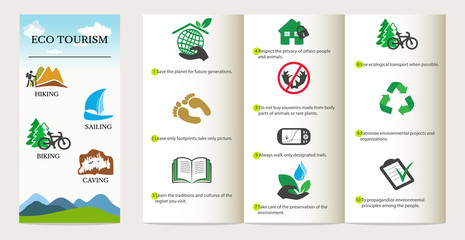 Ecotourism concept. Brochure with icons and text. Eco friendly design elements. Vector illustration.