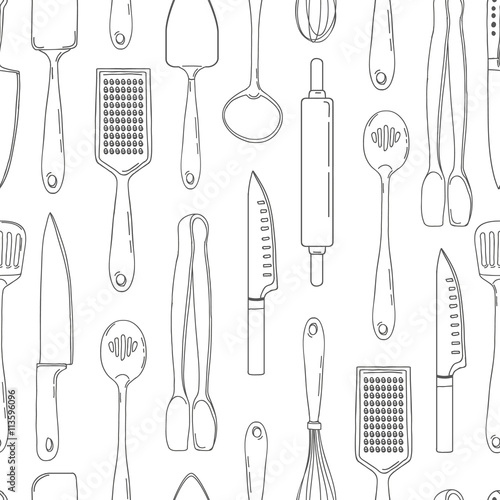 Kitchen Utensils Wallpaper seamless background with a pattern of outline cutlery. vertical
