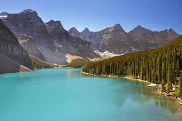 Moraine Lake, Banff National Park, Canada on a sunny day
