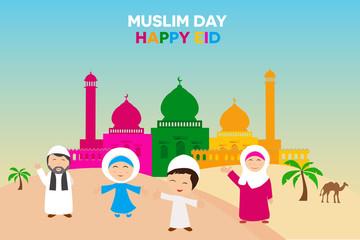 Happy Eid Celebration Concept, Muslim Day Aidilfitri, Salam Idul Fitri