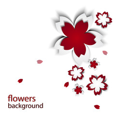 Abstract background with paper flowers and place for text. Vector illustration. Sakura on white background. Red Cherry blossoms cutout paper vector flower