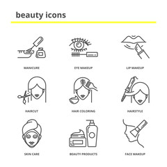 Beauty vector icons set: manicure, eye and lip makeup, haircut,