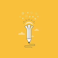 Creative writing. Storytelling.Graphic design studio symbol