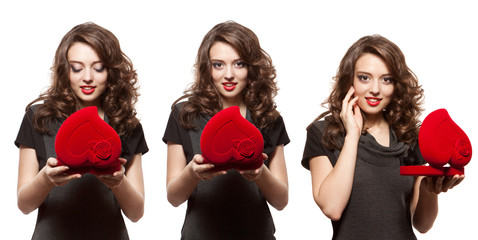 Happy woman opening a gift on Valentine's Day