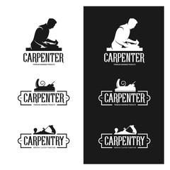 Carpentry vintage labels set. Carpenter emblems. Vector illustration.