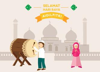 Happy Eid celebration concept, muslim day celebration a man hit bedug