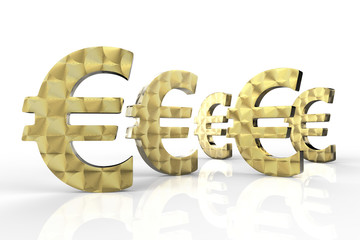 Euro Currency in Gold 3D Rendering