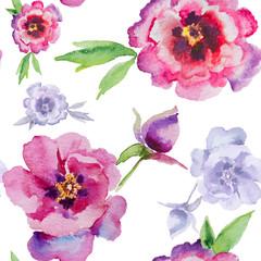 Watercolor flowers peonies. Handmade greeting cards.