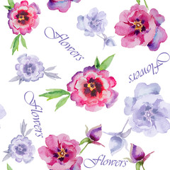 Watercolor flowers peonies. Handmade greeting cards.