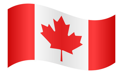 Flag of Canada waving on white background