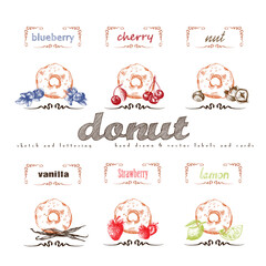 Donuts hand drawn collection. Vector vintage illustration with cherry, blueberry, vanilla, nut, strawberry, lemon and letter elements.