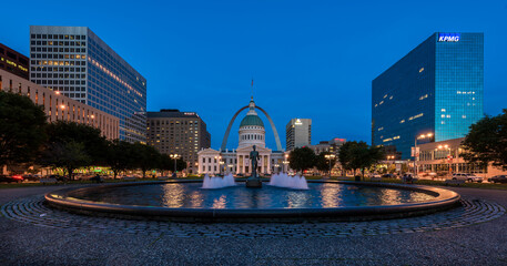 Kiener Plaza with the Running Man statue and the Old Courthouse and the Arch in St. Louis, Missouri