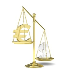Isolated old fashioned pan scale with dollar and euro on white background. American and european currency. Dollar is heavier. Silver usd, golden euro. 3D rendering.