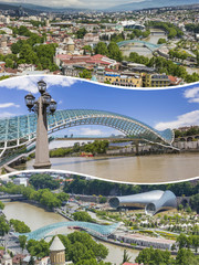Collage of Tbilisi ( Georgia ) images - travel background (my ph