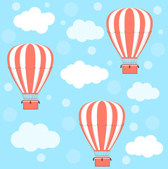 Hot air balloons and clouds. Vector pattern.