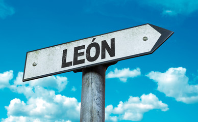 Leon sign with sky background