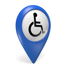 Blue map pointer icon with a wheelchair symbol for handicapped persons, 3D rendering